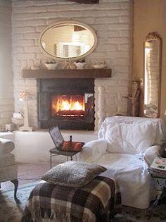 35 Cozy Cottage Fireplace Design, Warm Room Ideas - Any More Decor Cottage Fireplace, Cozy Fireplace, Fireplace Design, Fireplace Ideas, Cozy Corner, Cozy Cottage, Rustic Cottage, Cozy Place, Warm And Cozy