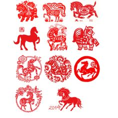 Chinese Themed Wafer Paper - Chinese New Year of the Horse 2014 Wafer Paper
