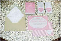 pink and gold wedding invitations | VIA #WEDDINGPINS.NET