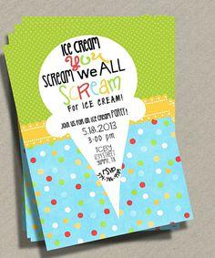 Ice Cream Party Invitation Ice Cream Sundae by KennedyLaneDesigns, $12.00