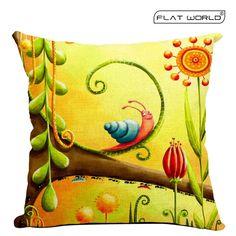 Amazon.com - Flatworld® Decorative Star Throw Pillow Case Cushion Cover Linen Cotton Natural Bed Pillow Protectors (Cartoon Snail) -