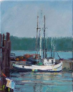 Daily Painters, Fine Art Gallery, Fishing Boats, Art For Sale, Landscape Paintings, Oil On Canvas, Nautical, Ships, Sailboats