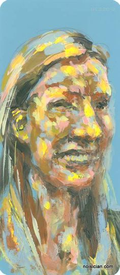 """""""Rebecca"""" by Jeff Wrench. Acrylic on paint chip, from series based on people I met and photo'd at recent exhibit."""