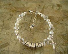 Christian Bracelet, Baptism Gift, Personalized,  Name Bracelet, Baby Bracelet, Children's Jewelry,First Communion Gift, Flower Girl Bracelet