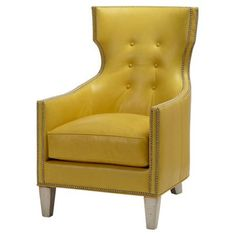 Check out this item at One Kings Lane! Jonty Leather Chair, Yellow