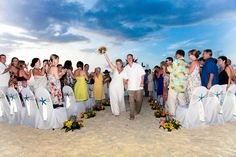 Starfish, Blue skies and a happy couple making their way down the alter