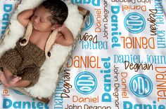 Baby Blanket with Name & Monogram  Boys' by TheDreamyDaisy on Etsy
