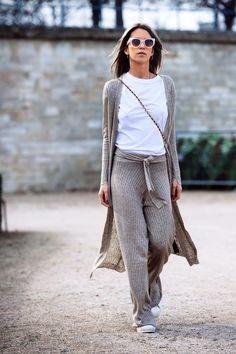 CAROLA BERNARD. Knit set. Knitted flat pant. Greys W16 @citizencouture