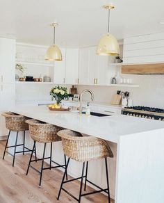 modern farmhouse kitchen design with wood range hood and shiplap, white subway tile backsplash and gold kitchen pendant lighting and rattan stools, white kitchen design, cottage kitchen design Home Decor Kitchen, Kitchen Interior, New Kitchen, Home Kitchens, Kitchen Dining, Natural Kitchen, Crisp Kitchen, Kitchen Ideas, Modern Country Kitchens