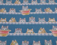Special offer for limited items  Japanese cotton fabric Cat printed half  yard
