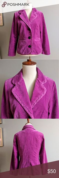Boden Velvet Blazer Bright fuschia blazer with ribbon trim. Button closure. Front slit pockets. Button detail on sleeve cuffs. Floral print lining. Size 12 which is a US 8. Small spot on the inner arm. Boden Jackets & Coats Blazers