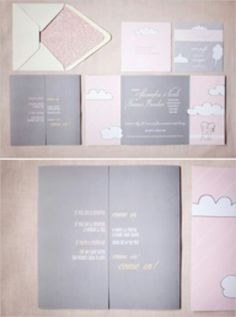 Pink and grey invitation card