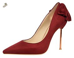 Passionow Women's Fashion Back Bow Stiletto Metal High Heels Shallow Pointed Toe Dress Suede Pumps (6 B(M)US,WineRed) - Passionow pumps for women (*Amazon Partner-Link)