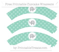 Free Pastel Green Dotted Pattern Baby Elephant Cupcake Wrappers