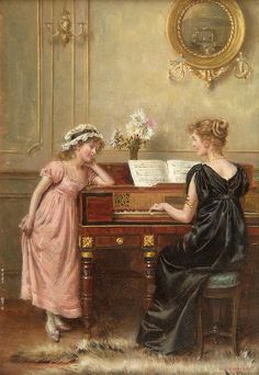 """GEORGE GOODWIN """"The Recital"""" George Goodwin Kilburne (24 July 1839 – 1924 London) was an English genre painter specialising in accurately drawn interiors with figures. He favoured the watercolour medium, although he also worked in oils, pencil and - in his early career - engraving."""