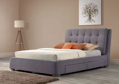 MAYFAIR 4 DRAWER BED, GREY: Covered in textured grey fabric, this low-based bed is real luxury - as the name, Mayfair, suggests - the deep-buttoned headboard is a real statement, and the practicality of the drawers is an added bonus.
