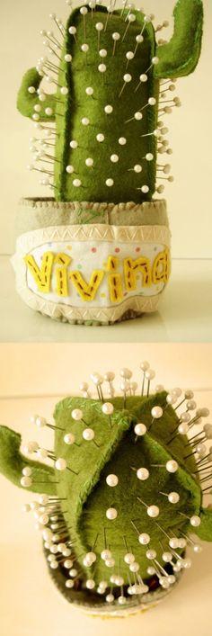 Agulheiro Cactus em feltro