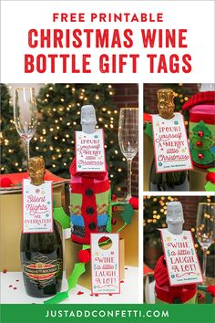 If you are looking for a cute hostess gift or gift for co-workers or friends then this is the idea for you. Wine and champagne are great gifts—but dressed up a little (see what I did there…haha!) they are even more fun! For this Christmas wine bottle gift idea I added a fun ugly sweater wine bottle bag and designed some cute Christmas wine bottle free printable tags. #JustAddConfetti #winetags #winegifttags #gifttags #Christmasgifts #Christmas #winegift #wine