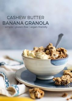 This simple Cashew Butter Banana Granola recipe is perfect for snack time or breakfast. My favorite is enjoying it yogurt topped with bananas and cashew butter! Gluten-free, vegan-friendly.