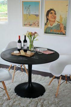 ikea docksta table coated with blackboard paint