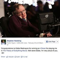 Hawking Congratulating Eddie Redmayne On Facebook