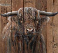 Cow Skull Art, Cow Art, Oil Painting Tips, Painting On Wood, Wood Paintings, Highland Cow Painting, Scottish Highland Cow, Highland Cattle, Cow Drawing