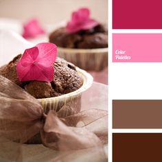 Warm chocolate cake color well and harmonious look with pale pink and fuchsia. This combination is best diluted with white.                                                                                                                                                                                 More