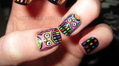 bright little owls.. inspired by the ever fabulous and flawless SuPa Nails