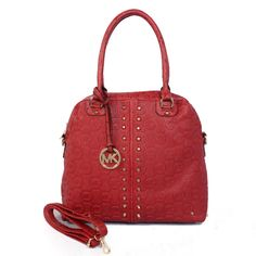 Michael Kors Bedford Bowling Medium Red Satchels Outlet