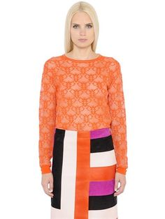 EMILIO PUCCI Logo Sheer Viscose Sweater, Orange. #emiliopucci #cloth #knitwear