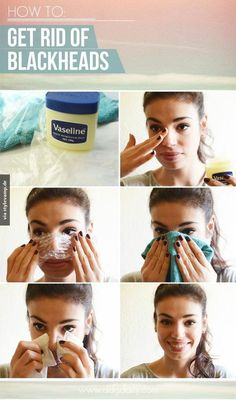 Vasaline! It works for black head, BUT NOT PIMPLES. Simply spread a thin layer of vasaline over your nose,(or the certain places you have blackheads), then put a layer of cling wrap on it for about 20 min., then place a towel down for about 10 min.. Finally rinse with warm water, and pat dry with soft cosmetic tissues!