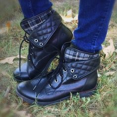Black ankle combat boots Black Rock & Candy Spraypaint ankle boots. Gray and black plaid lining with quilting. Worn only twice. In very good condition. Rock & Candy by ZiGi Shoes Ankle Boots & Booties