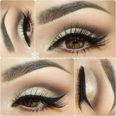 Simple eye makeup with brilliant liner.