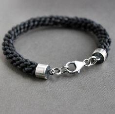 Leather Bracelet Thick Round Braid Black Cord by LynnToddDesigns, $69.00