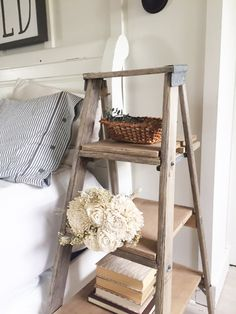 DIY ladder nightstand | ladder projects | step ladder nightstand | ladder side table | step ladder side table | repurposed ladder | easy DIY project | farmhouse decor