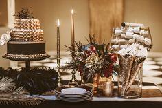 glam dessert tables - photo by Hazelwood Photo http://ruffledblog.com/black-and-gold-new-years-eve-wedding