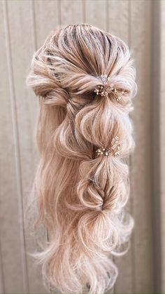 Hair by Kaelyn Christine creating a hairstyle to fit your version of beautiful. A romantic updo, boho braids, or beachy waves. Fancy Hairstyles, Down Hairstyles, Bohemian Wedding Hairstyles, Prom Hairstyles Half Up Half Down, Boho Updo Hairstyles, Updos, Wedding Hair And Makeup, Boho Wedding Hair Half Up, Beach Bridal Hair