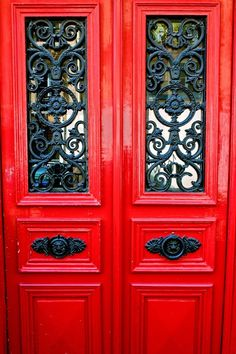 Items similar to Red Door Print - Paris Door Photography - Red and Black Photograph - French Decor Parisian Print Paris Picture Paris France Wall Art on Etsy Black Front Doors, Painted Front Doors, Red Doors, Door Paint Colors, Front Door Entrance, Paris Pictures, Iron Work, Door Knockers, French Decor