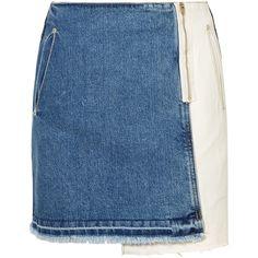 SJYP Distressed patchwork denim mini skirt (€230) ❤ liked on Polyvore featuring skirts, mini skirts, bottoms, mid denim, short mini skirts, patchwork skirts, ripped skirt, patchwork denim skirt and blue mini skirt