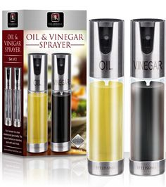 ★NEW★ Oil & Vinegar Spray Set. 1 X Olive Oil Sprayer and 1 X Vinegar Sprayer - 2 Spray Bottles with Glass and Aluminuim Finish. Great Alternative to Oil Misters Dispensers & Cruets