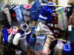 recycled mitts and hats....made from sweaters, blankets, old hockey socks, fur coats, etc