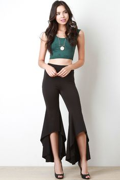 High Low Hem Bell Bottom Pants