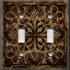 Light Switch Plate Cover - Wall Decor - Tuscan Tile Pattern - Dark Brown