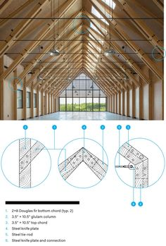 Photos: Glulam Trusses Soar Over Exhibition Space Timber Architecture, System Architecture, Architecture Details, Timber Roof, Roof Trusses, Roof Design, House Design, Wood Truss, Wood Wood
