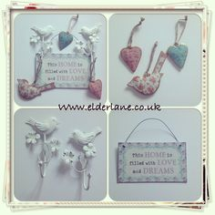 Beautiful vintage shabby chic style home accessories from www.elderlane.co.uk  Bird hooks, hanging birds and hearts, happiness plaque, all available to buy at www.elderlane.co.uk