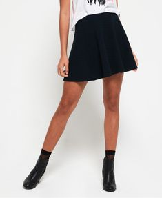 Shop Superdry Womens Wave Textured Skater Skirt in Eclipse Navy. Buy now with free delivery from the Official Superdry Store. Short Girl Fashion, Skater Style, Models, Casual Skirts, Shorts, Superdry, Short Girls, Blouse, Skater Skirt
