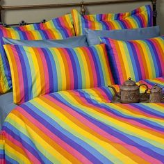 Rainbow Bed Set <3  No fitted sheet, these are the contrasting fabrics, use w/ black fitted <3