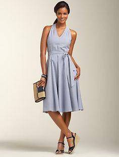 Sailor-Stripe Halter Dress - Talbots  $159