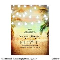 sunset beach & palm string lights save the date