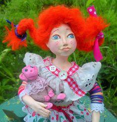 Art Doll handmade Peppi Longstocking with her monkey OOAK by irinaalek on Etsy